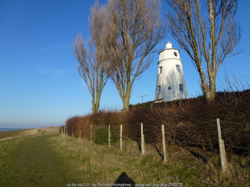 East bank lighthouse near Guy's Head north of Sutton Bridge Often referred to as Sir Peter Scott's lighthouse. The famous naturalist and painter lived here from 1933 to 1939. A coastal walk is also named after him which runs from this lighthouse to near King's Lynn