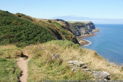 The coastal path below Gnipe Howe A couple of streams here add to the ups and downs, but the undulations are only smal