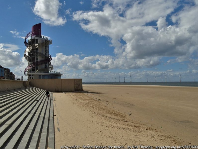 Redcar Beacon, the beach and Teesside Wind Farm