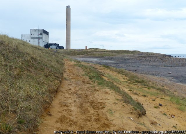 Sand dunes near the Lynemouth Power Station