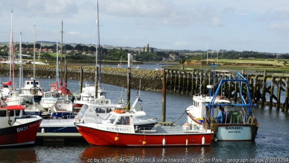 Amble Marina & view towards Warkworth Castle