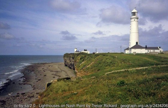 Lighthouses on Nash Point Looking west to the old lighthouse (left) and new lighthouse (right). This was the last manned lighthouse in Wales and since 1998 it has been automatically operated and is monitored by Trinity House's Control Centre at Harwich.
