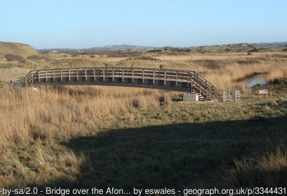 Bridge over the Afon Cynffig/River Kenfig on the Wales Coast Path