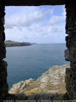 View southwest towards Stacan Barcutan from Abereiddy Tower