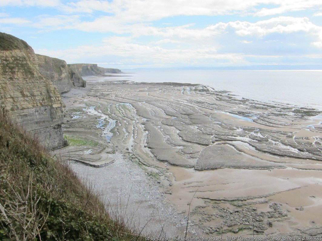 Blue Lias limestone ledges beyond Witches Point