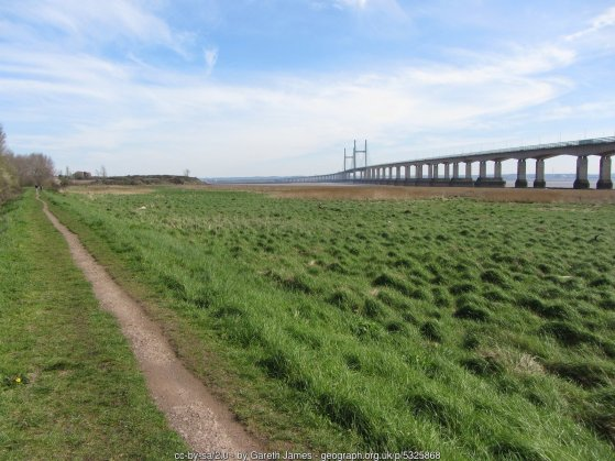 Wales Coast Path near the Second Severn Crossing
