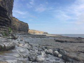 Limestone Shelf Rocks, boulders and limestone shelf worn smooth by wave action at Tresilian Bay on the Bristol Channel.