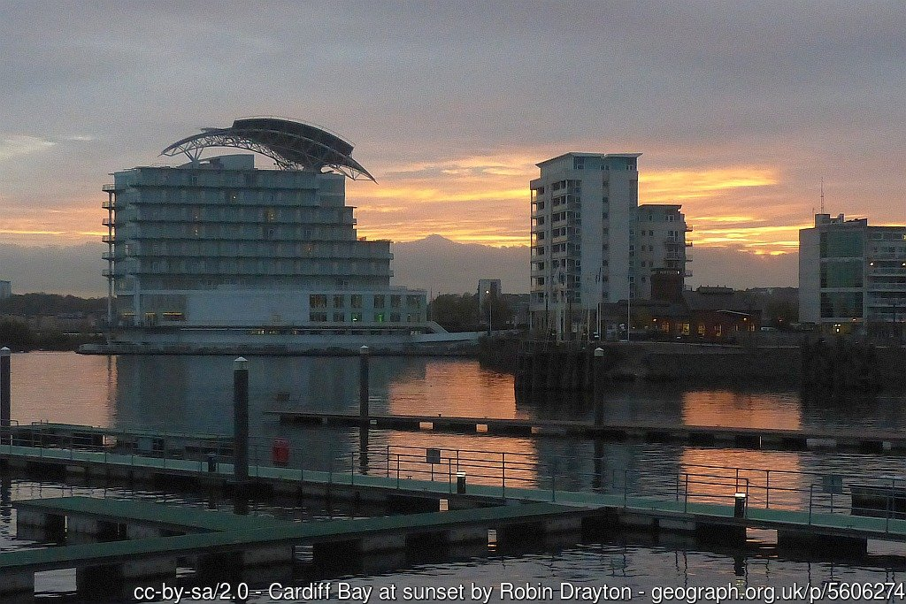 Cardiff Bay at sunset Showing St David's Hotel and apartment buildings.