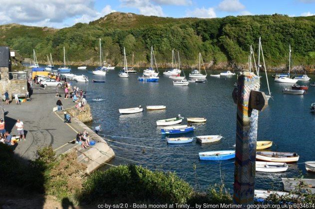 Boats moored at Trinity Quay, Solva Harbour