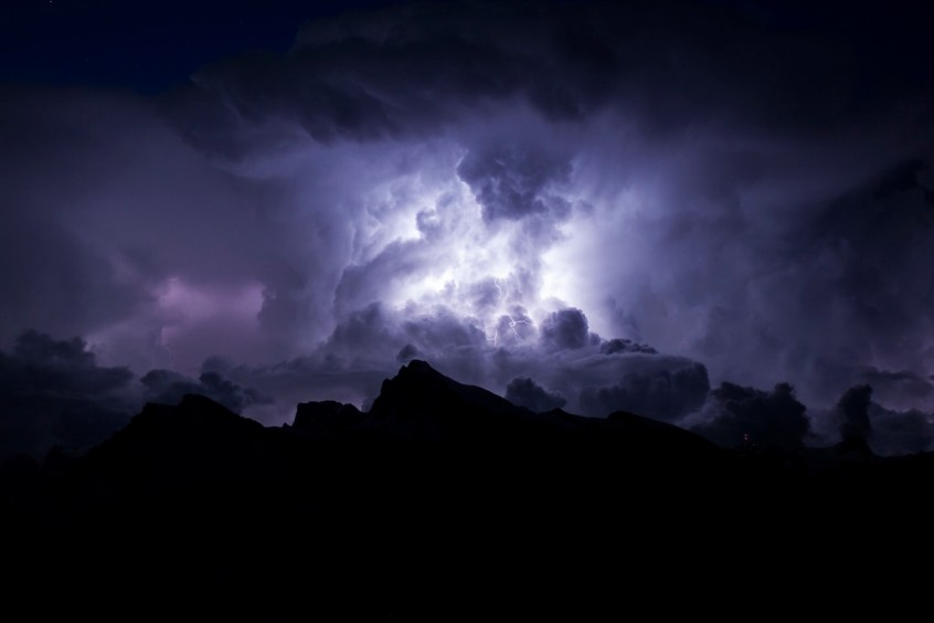 dark purple clouds and lightening