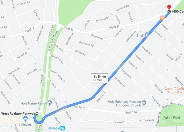 West Roxbury Walk Audit Route