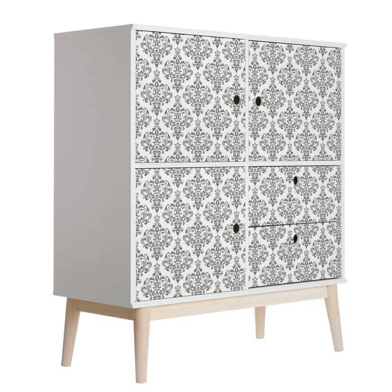 sticker meuble film decoratif adhesif lavable baroque gris