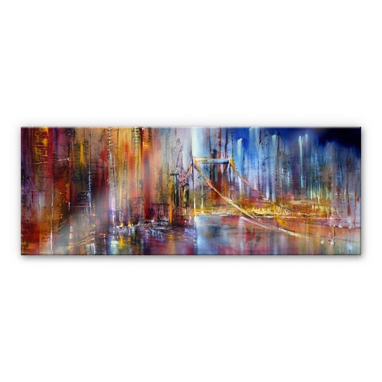 tableau en verre acrylique schmucker vue de la ville panorama
