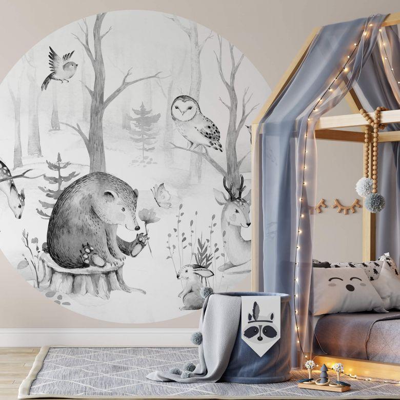 papier peint photo kvilis amis des animaux dans la foret n b rond