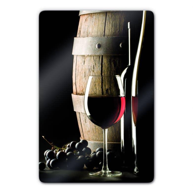 tableau en verre vin rouge