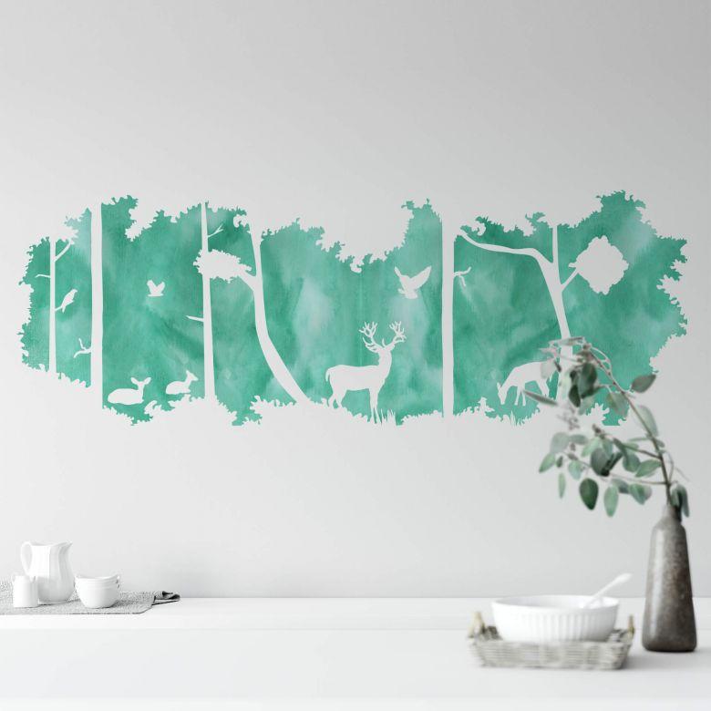 sticker mural silhouette de foret aquarelle vert