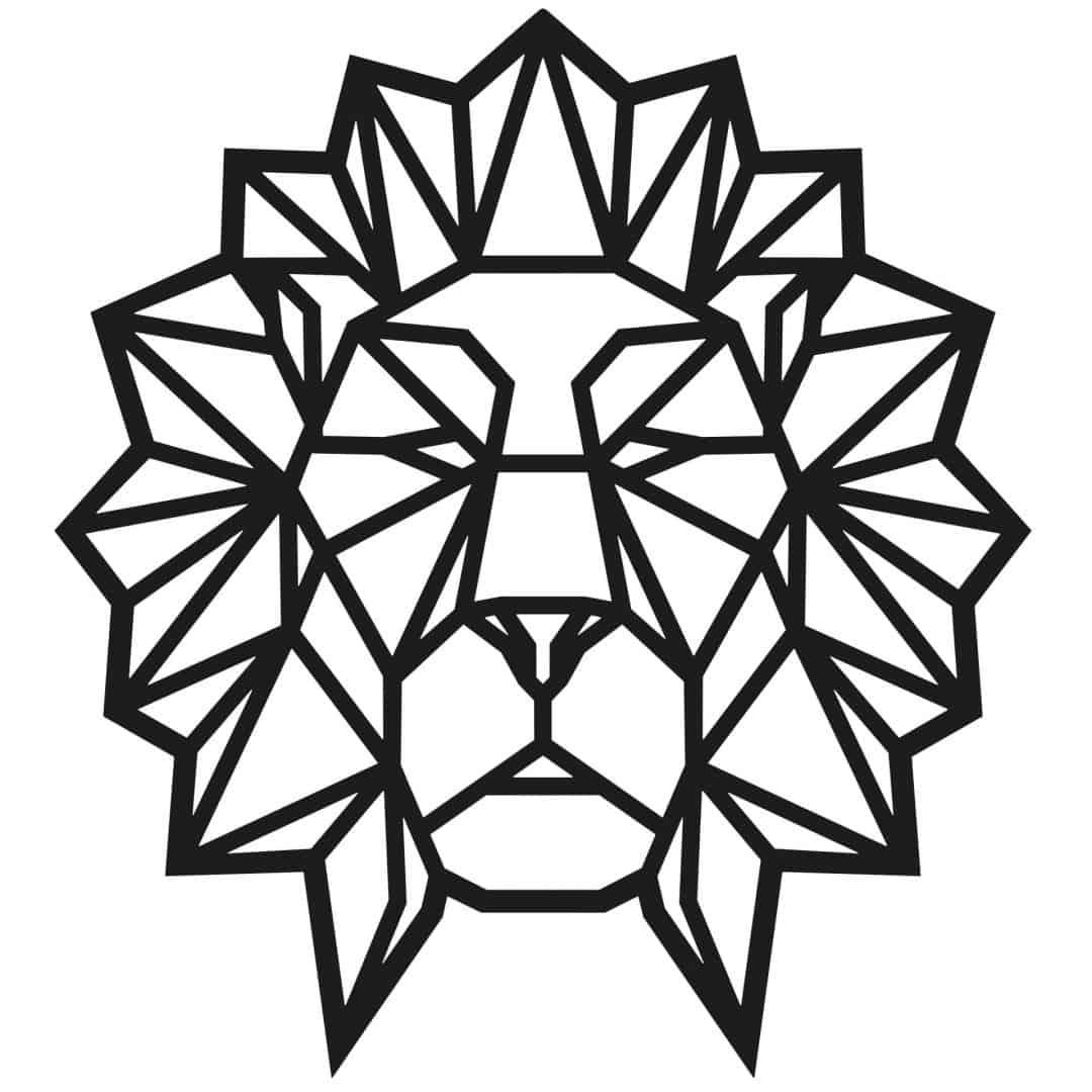 Wall Sticker Origami Lion Head