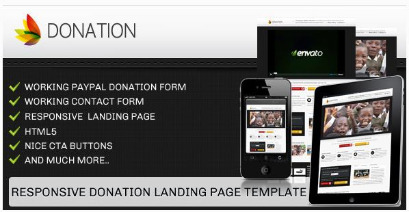 Donation landing page template