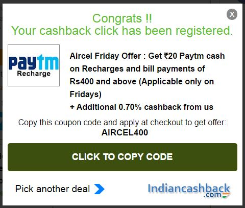 indiancashback coupon