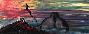 © Gerald Scarfe  Watercolour and gouache on paper  81 in. x 34.64 in. Framed