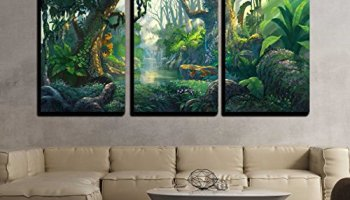 Wall26 3 Piece Canvas Wall Art Spooky Forest With Silhouettes Of