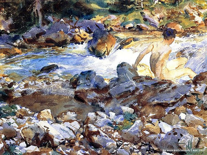 John Singer Sargent Watercolors : Mountain Stream  1