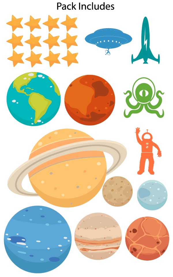 Outer Space Wall Decal Pack Wall Decal World