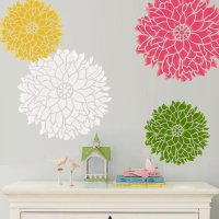 Bold floral stencil wall art
