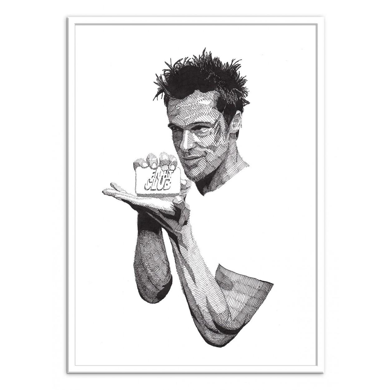 Affiche D Art Poster Illustration Dessin Stylo Brad Pitt