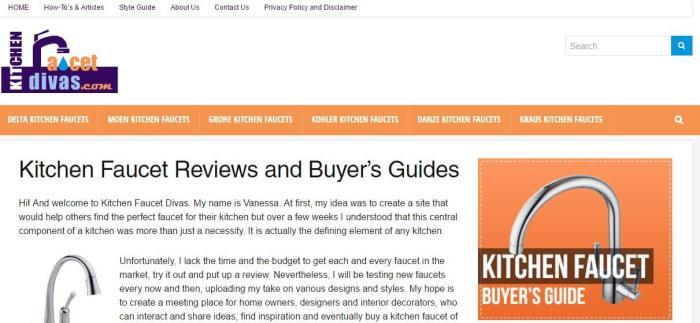 KichenFaucetDivas -Amazon Affiliate Website Example
