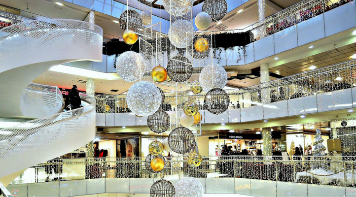 Picture of shopping mall decorated for Christmas Black Friday Secret Tips
