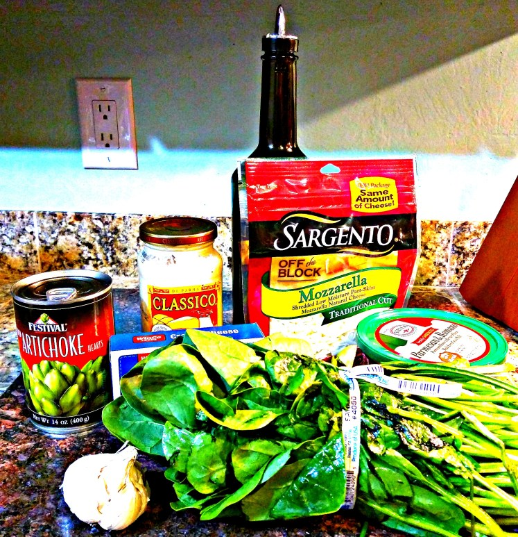picture of ingredients needed for the best copycat spinach artichoke dip
