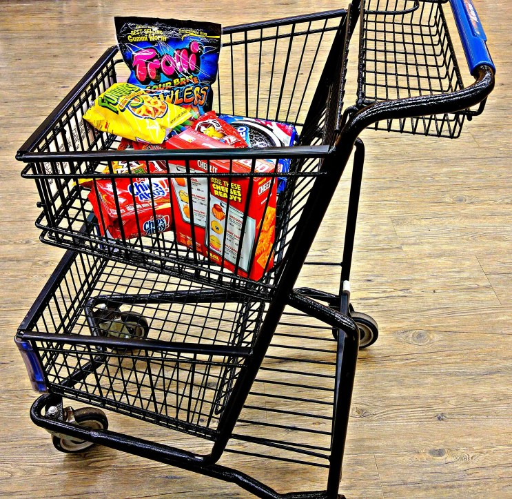 bad grocery store habit picture of cart full of junk food