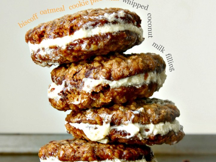 Biscoff Oatmeal Cookie Pies with Whipped Coconut Filling - Wallflour Girl