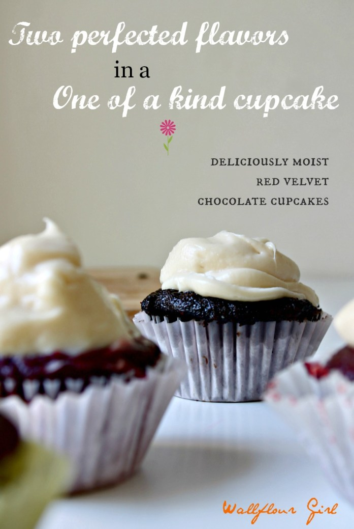 Two-Toned Red Velvet Chocolate Cupcakes with Cream Cheese Frosting 31--051614