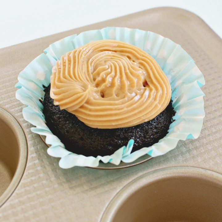 Vegan Chocolate Cupcakes with Peanut Butter Frosting for #OXOGoodCookies