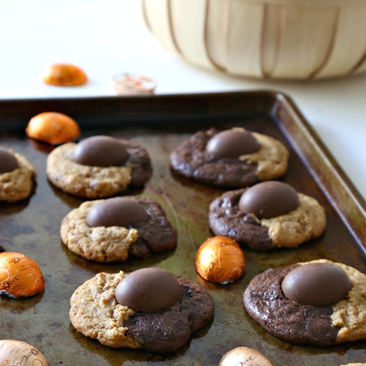 Peanut Butter Chocolate Swirl Cookies with Easter PB Eggs