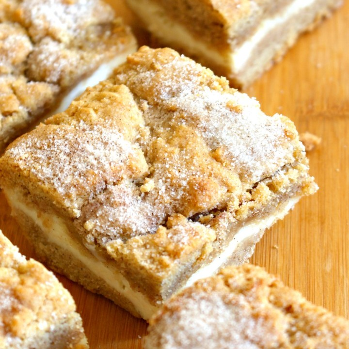 Super Chewy Molasses Ginger Cookie Bars with Cheesecake Filling