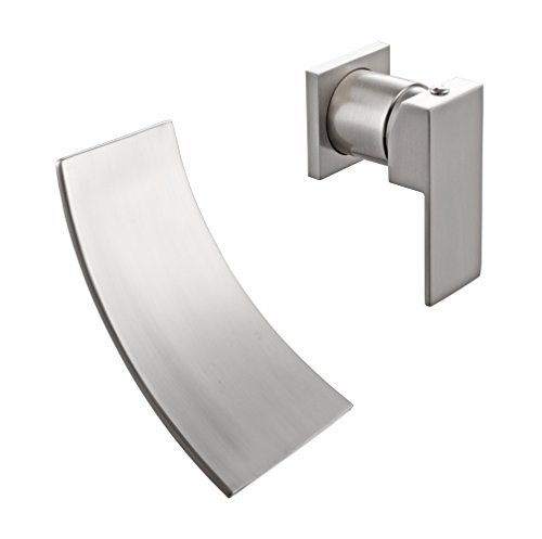 KES BRASS Single Handle Waterfall Sink Faucet SUS304 Stainless Steel Spout  Wall Mount For Bathroom Vanity Or Bowl Sink, Brushed Nickel, L3200 2