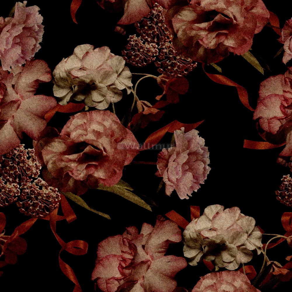 Dark Vintage Floral Wallpaper Mural Wallpaper Wallmur
