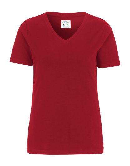 Cottover - 141025 - T-shirt V-neck Slim Fit Lady - Rød (260)