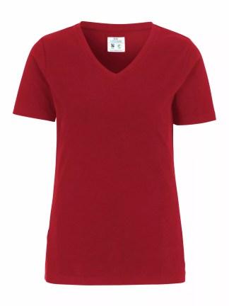 Cottover - 141025 - T-shirt V-neck Slim Fit Lady - Rød (260)