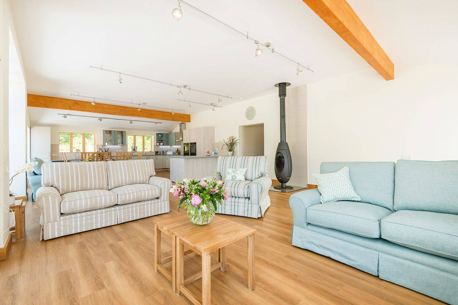 Silver Birch Cottage is an accessible cottage showing hte living area which is wheelchair friendly