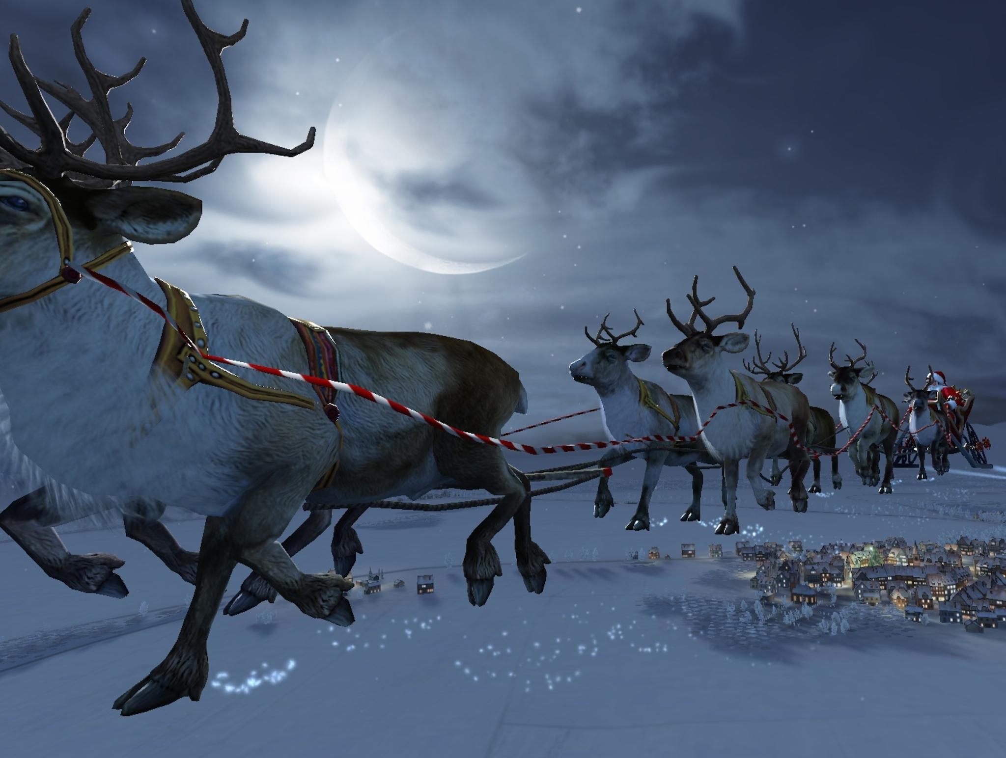 Santa Flying Reindeer Wallpaper