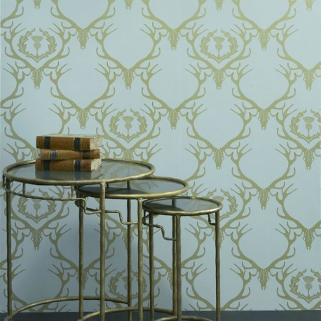 Deer Damask Wallpaper Blue Wallpaper Barneby Gates