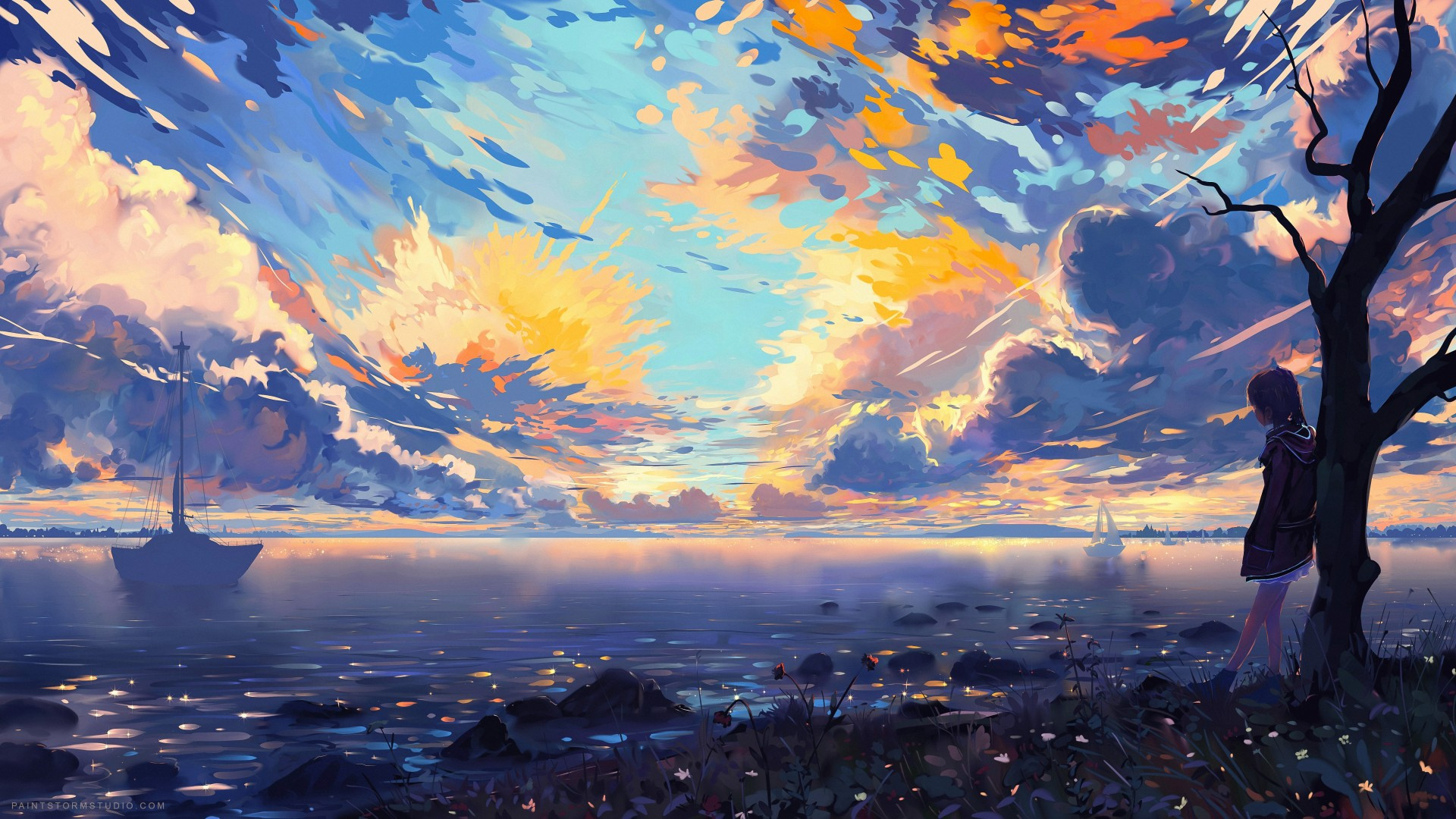 Download 1920x1080 Anime Girl Horizon Landscape Clouds Sunset Wallpapers For Widescreen Wallpapermaiden
