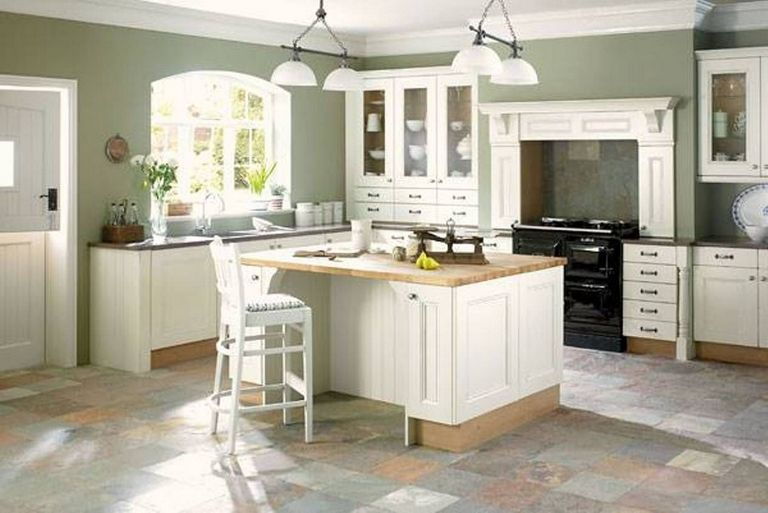 Green Kitchens With White Cabinets