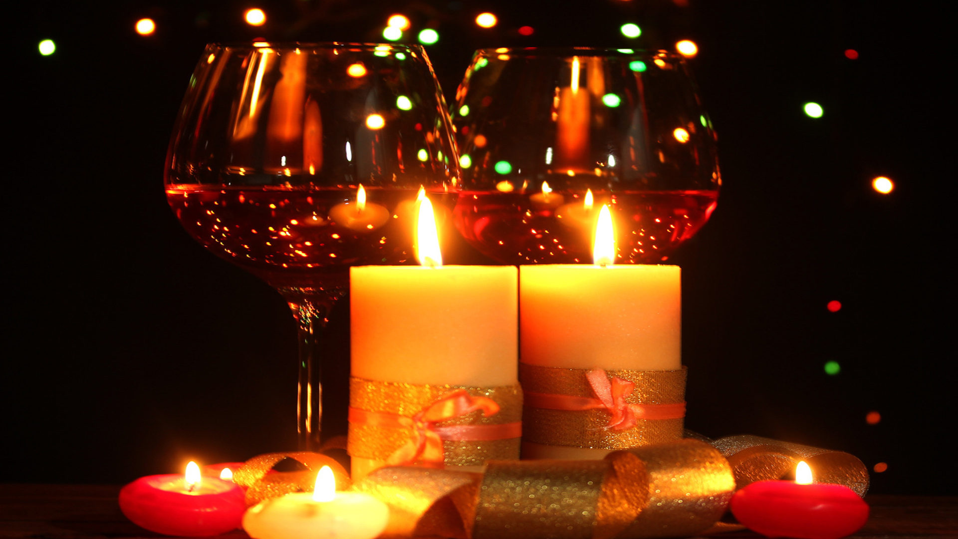 Glasses Wine Light Candle 0876