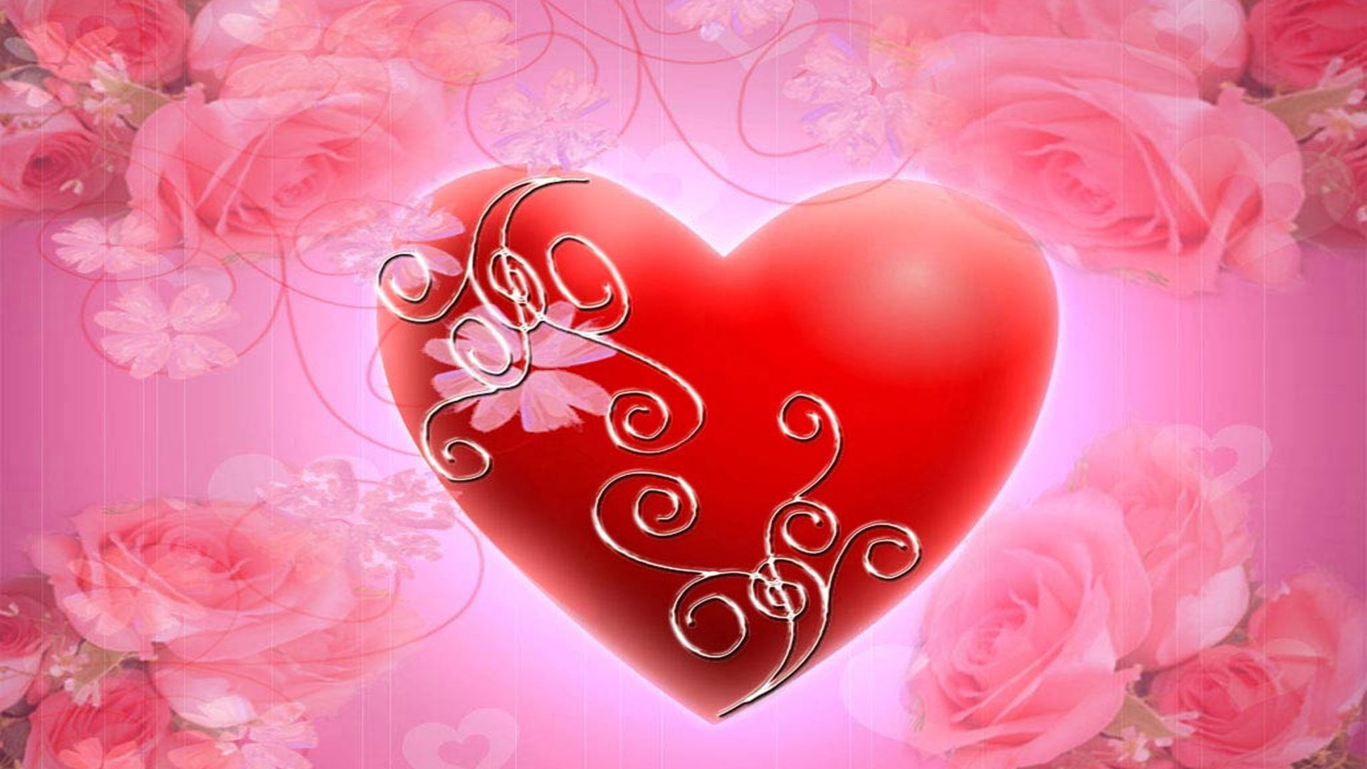 Red Heart Pink Roses Hd Wallpaper Wallpapers13 Com
