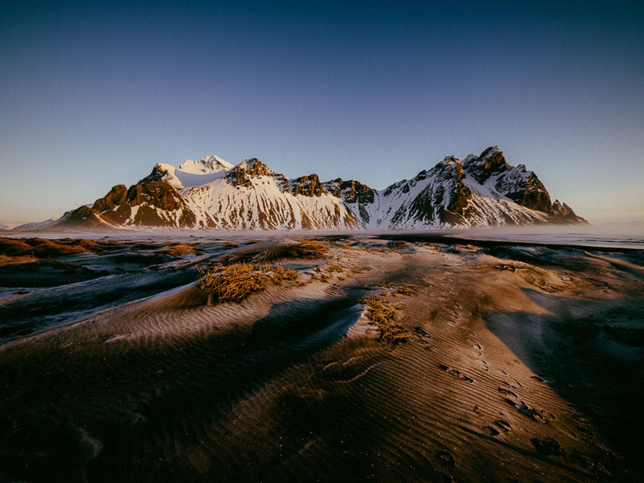 Mountain Vestrahorn In Iceland Winter Landscape Full HD